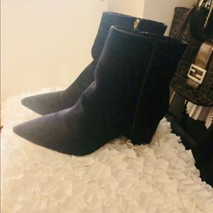 Z A R A Navy Velvet Ankle Boots US9